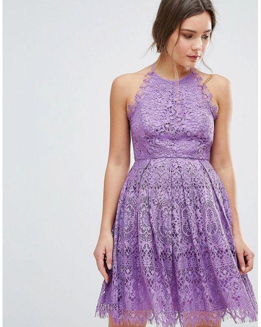 ASOS - Purple Pinny Prom Mini Dress In Lace - Lyst