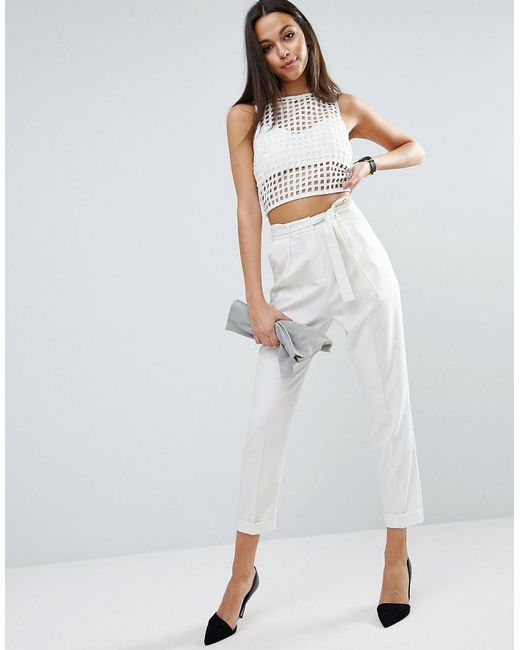ASOS | White Woven Peg Trousers With Obi Tie | Lyst