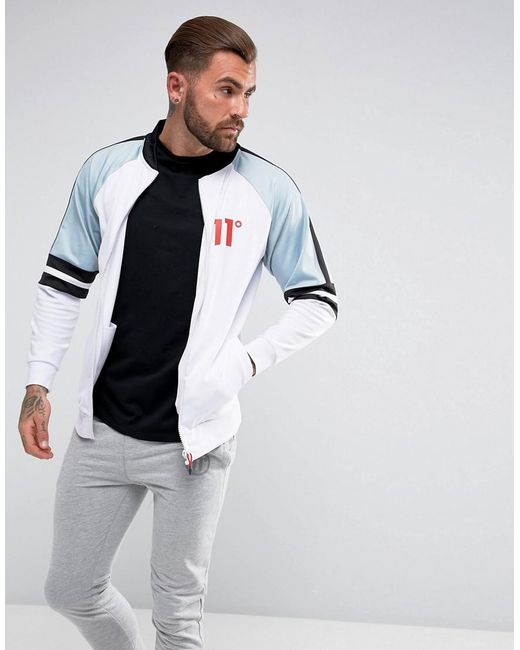 11 Degrees | Track Jacket In White With Blue Panels for Men | Lyst