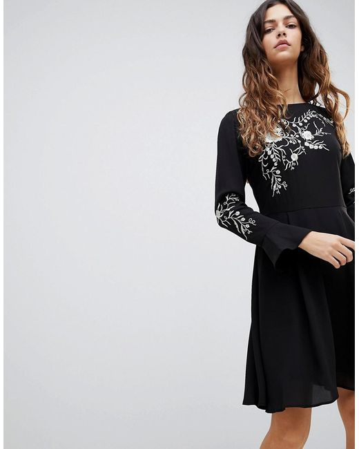 e1d50c9fc8 Oasis - Black Embroidered Dress With Fluted Sleeve - Lyst ...
