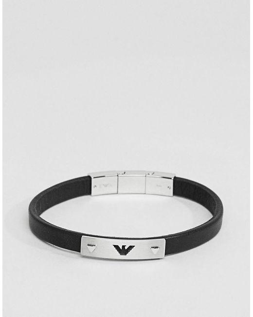 Emporio Armani - Egs2411040 Leather Eagle Bracelet In Black for Men - Lyst
