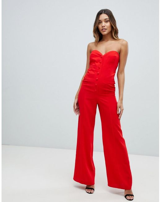 7c78938a56e ASOS - Red Bandeau Sweetheart Jumpsuit With Button   Buckle Detail - Lyst  ...