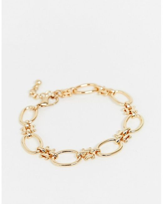 ASOS - Metallic Anklet With Open Circle And Hardware Chain Links In Gold Tone - Lyst