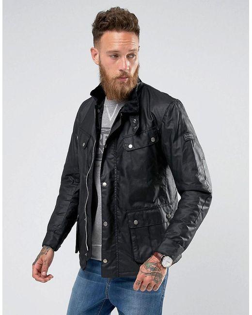 Barbour - International Slim Fit Duke Wax Jacket In Black for Men - Lyst ...