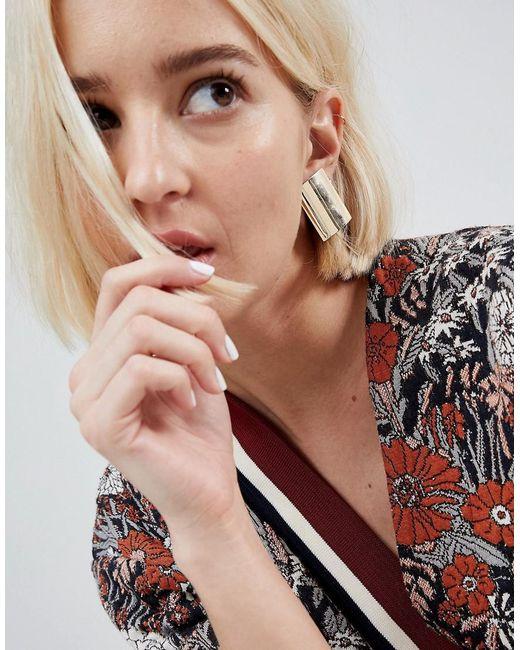 ASOS | Metallic Curved Rectangle Stud Earrings | Lyst