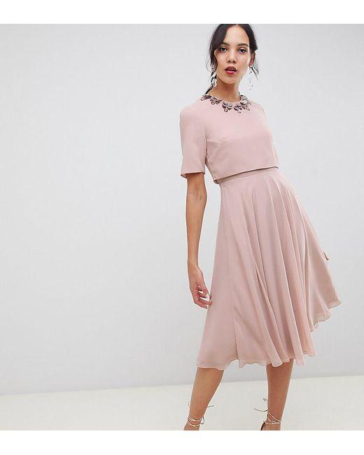 6d4213c54357 ASOS - Pink Asos Design Tall Midi Dress With 3d Embellished Neckline - Lyst  ...