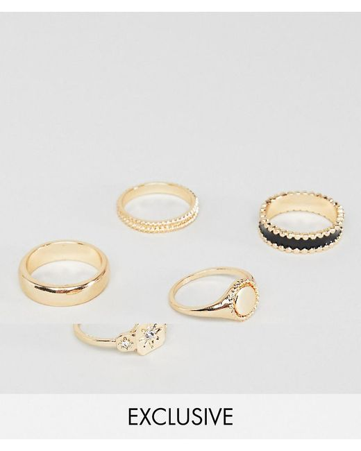 Reclaimed (vintage) - Metallic Inspired Ring Pack In Gold Exclusive At Asos for Men - Lyst