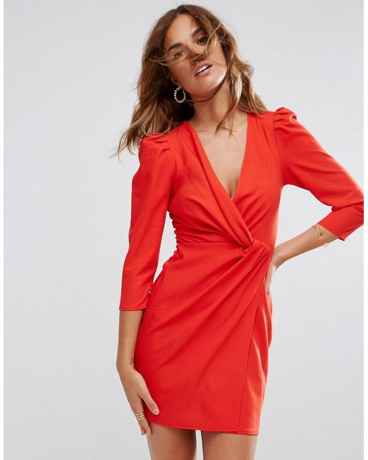 ASOS DESIGN - Red Asos Wrap Front Mini Dress - Lyst