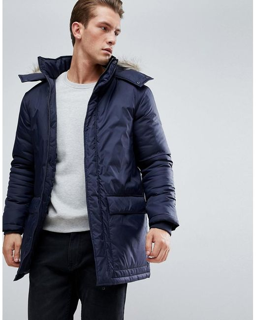b33f4038c5c0 French Connection - Blue Parka With Faux Fur Hood for Men - Lyst ...