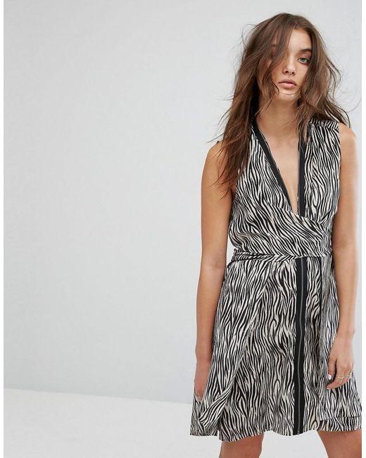 AllSaints | Multicolor All Saints Jayda Zebra Dress In Silk | Lyst