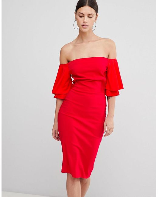 Vesper - Red Short Sleeve Bardot Dress - Lyst