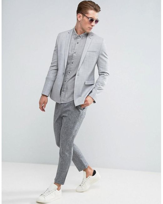 Lyst - Asos Wedding Skinny Suit Jacket In Crosshatch Nep In Light ...