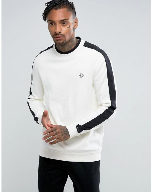Converse cons mock crew neck sweatshirt in white 10004772 for Mock crew neck shirts