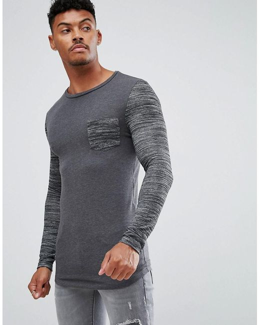 ASOS - Gray Asos Muscle Fit Long Sleeve T-shirt With Curved Hem And Inject Pocket And Sleeve for Men - Lyst
