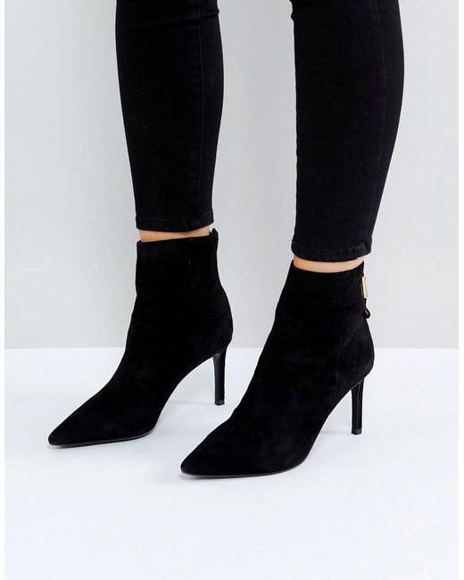Dune   Black Oralia Suede Pointed Heeled Boots   Lyst