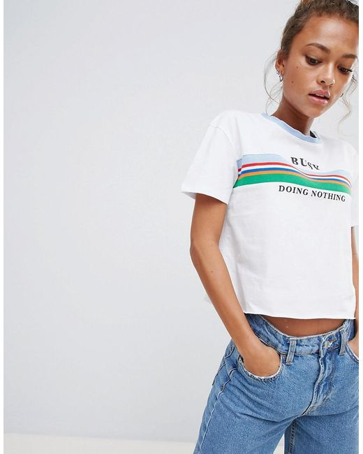 Bershka - Blue Busy Doing Nothing Slogan T Shirt - Lyst