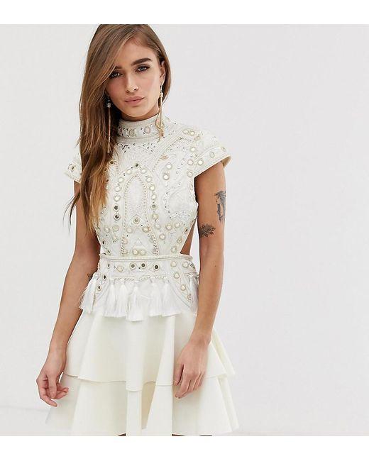 4e75130234d ASOS - White Asos Design Petite Mirror Embellished Mini Dress With Open  Back - Lyst ...