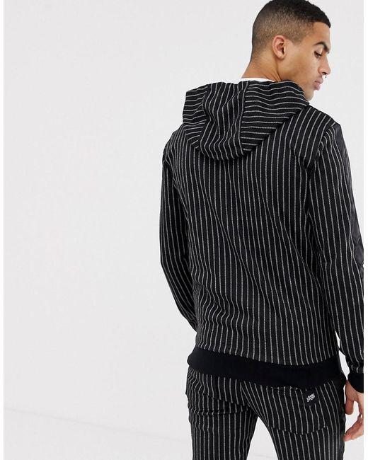 d6386c5c6ea6 Sixth June Zip Thru Hoodie In Black Stripe in Black for Men - Lyst