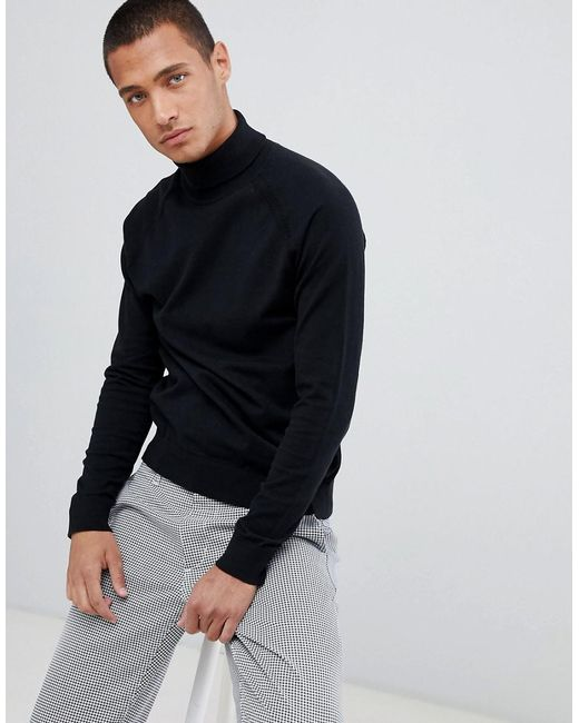 Threadbare - Black Roll Neck Cotton Jumper for Men - Lyst