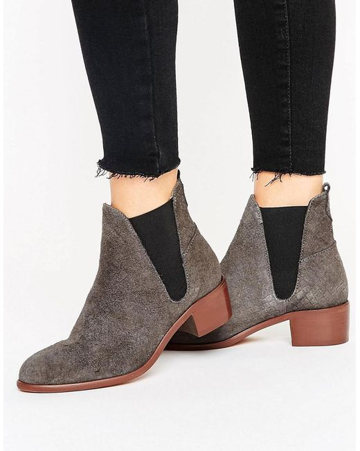 H by Hudson | Gray H By Hudson Kitten Heel Suede Chelsea Boot | Lyst