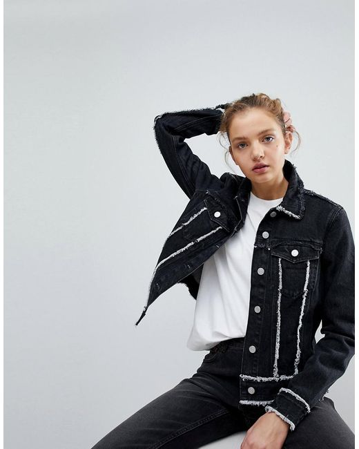 Weekday - Black Denim Trucker Jacket With Raw Hem - Lyst