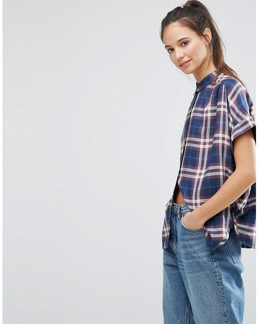 ONLY   Blue Batwing Check Shirt   Lyst