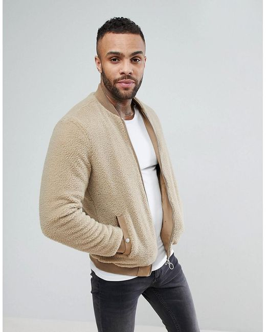 Pull&Bear - Faux Shearling Bomber Jacket In Light Brown for Men - Lyst