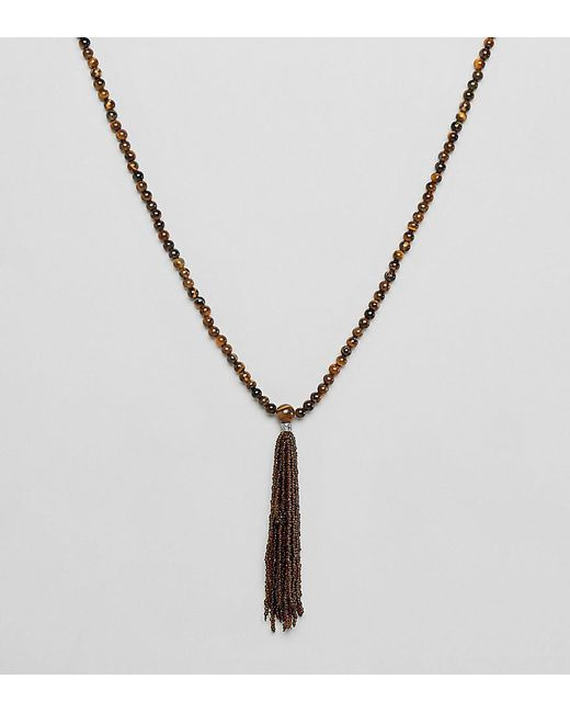Reclaimed (vintage) - Metallic Inspired Necklace With Semi Precious Stones Exclusive At Asos for Men - Lyst