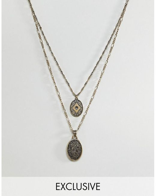 Reclaimed (vintage) - Metallic Inspired Layered Necklace With Coins In Burnished Gold Exclusive At Asos for Men - Lyst