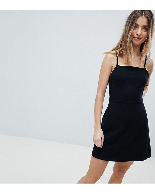 9294f84ece75 ASOS - Black Asos Design Petite Mini Square Neck Skater Dress - Lyst ...