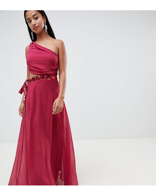 f470bf5f1a ASOS - Red Asos Design Petite Maxi Dress With Sequin Bow Cut-out Detail ...