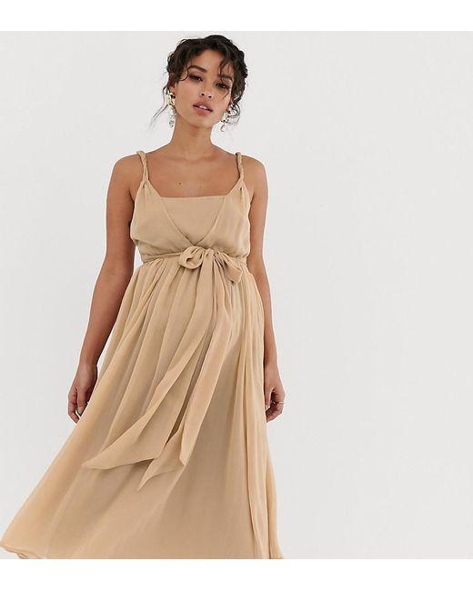 80a6e56e9379 ASOS - Multicolor Asos Design Maternity Soft Chiffon Square Neck Midi Prom  Dress With Twist Strap ...