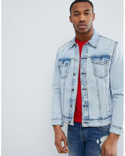 Bershka - Blue Denim Jacket In Acid Wash for Men - Lyst