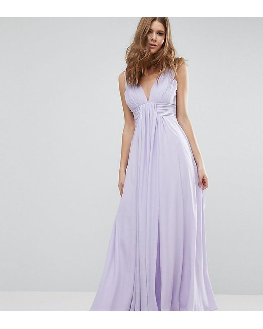 Fame & Partners - Purple Valencia Maxi Dress With Cut Out Back - Lyst