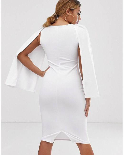 0773ff1be1b Boohoo Bodycon Midi Dress With Cape Sleeves In White in White - Lyst