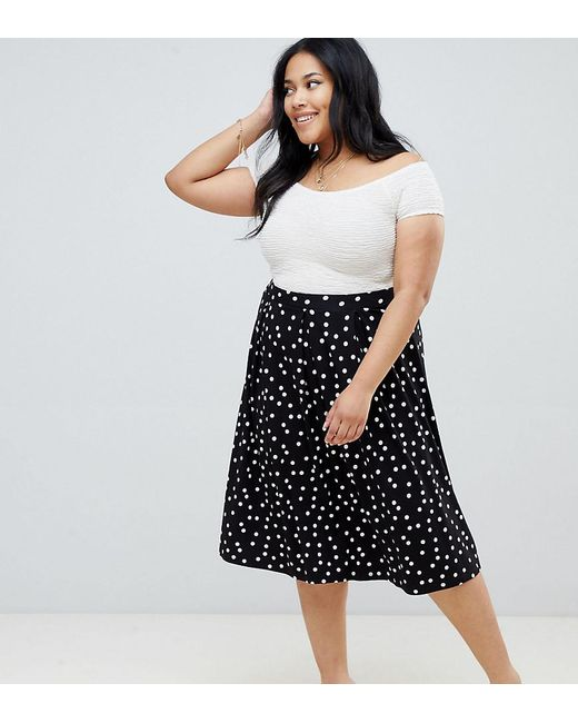 df95eff98 ASOS - Black Asos Design Curve Midi Skirt With Box Pleats In Polka Dot -  Lyst ...