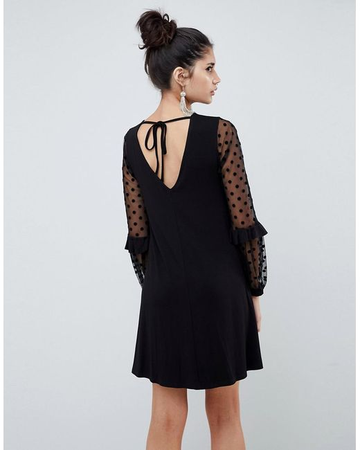 df33d4e9bfe8 ... ASOS - Black Shift Dress With Dobby Mesh Sleeves - Lyst