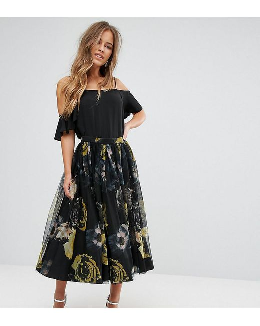 Lyst - Asos Tulle Prom Skirt In Floral Print in Black