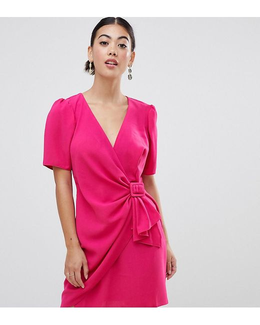 ad6f7a86c6e2 ASOS - Pink Puff Sleeve Mini Dress With Side Belt - Lyst ...