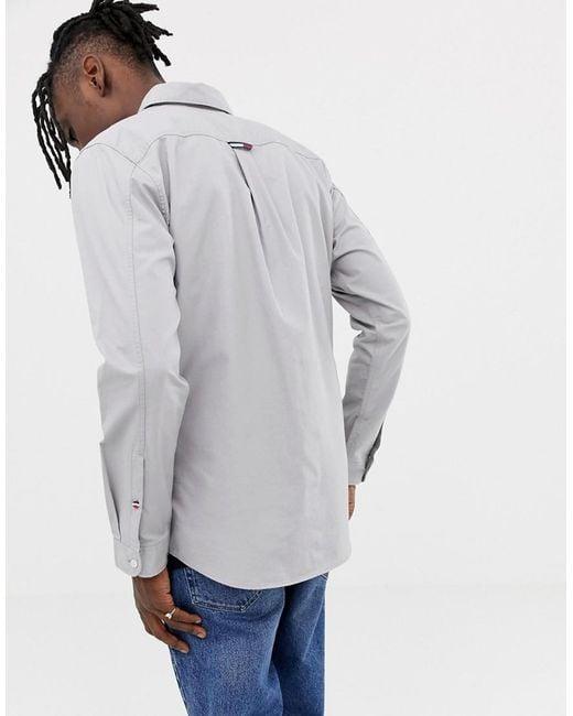 b317ac441 ... Tommy Hilfiger - Gray Tape Detail Flag Logo Buttondown Shirt In Grey  for Men - Lyst