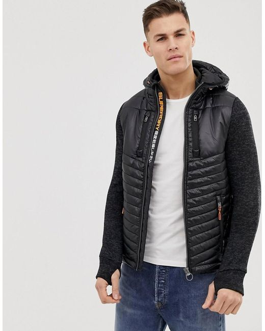 bc340d638 Superdry - Sueprdry Hooded Padded Sweat Jacket In Black for Men - Lyst ...