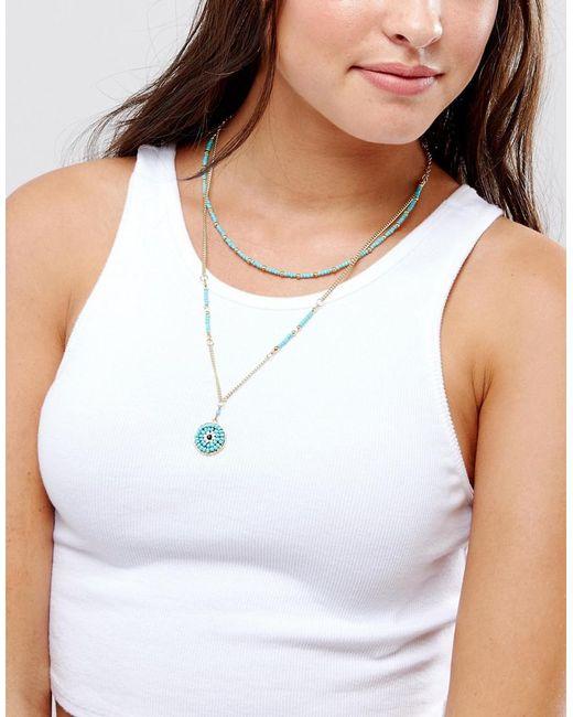 ASOS | Blue Multirow Bead Charm Choker Necklace | Lyst