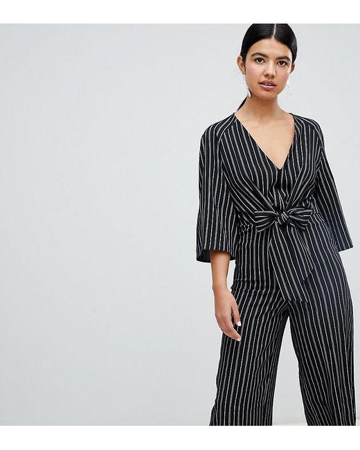 10005c34e13 Miss Selfridge - Black Tie Front Stripe Culotte Jumpsuit - Lyst ...