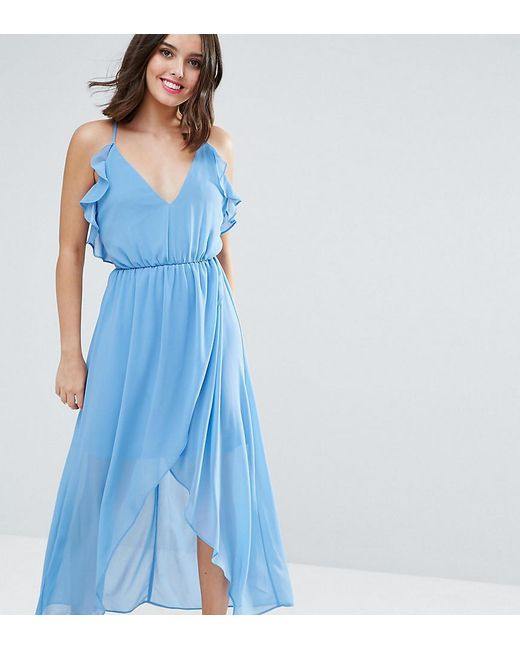 True Decadence   Blue Wrap Cami Dress With Ruffles   Lyst