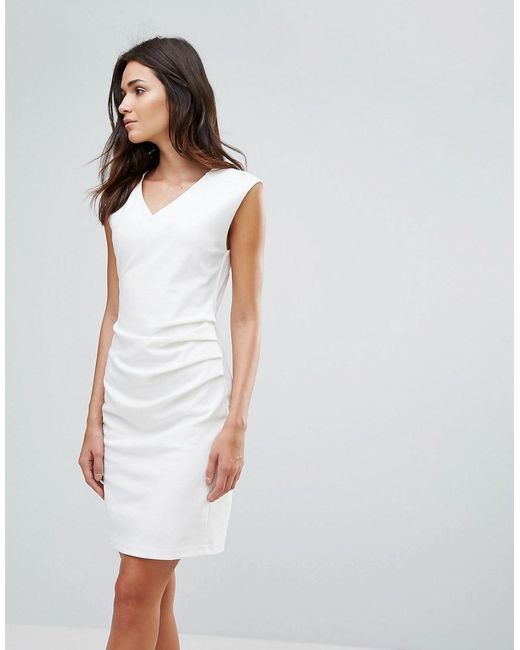 B.Young | White Gather Side Dress | Lyst