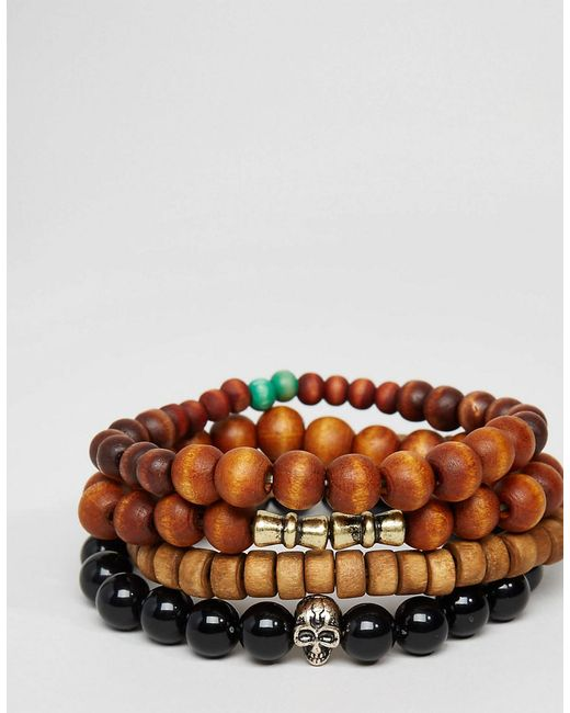 ASOS   Black Beaded Bracelet Pack In Brown for Men   Lyst