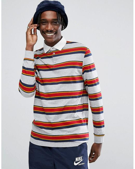 Lyst asos relaxed long sleeve rugby polo shirt with for Long sleeve striped rugby shirt