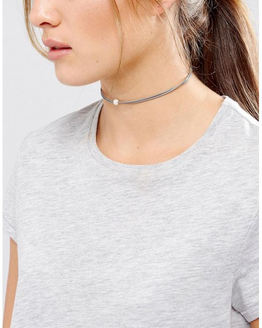 Dogeared | Pearls Of Happiness Love Friendship Gray Leather Choker | Lyst