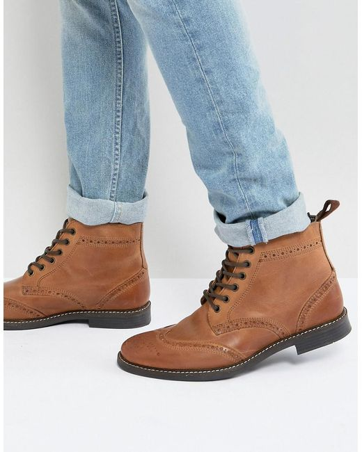 Red Tape Brogue Boots - Brown for men