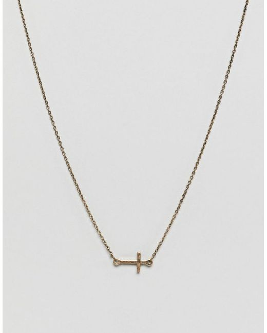 Icon Brand - Metallic Gold Necklace With Cross Charm for Men - Lyst